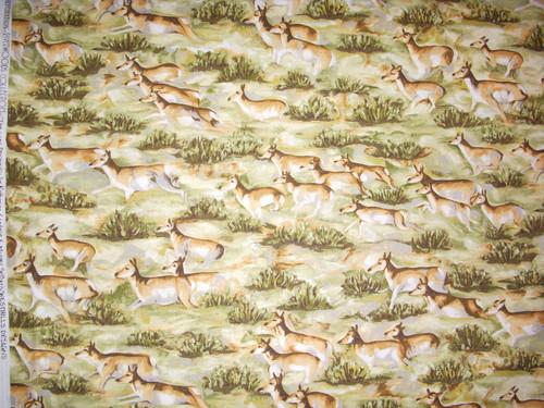 RUNNING DEER HERD ON GREEN PRAIRIE GRASS - TRO 1524-1