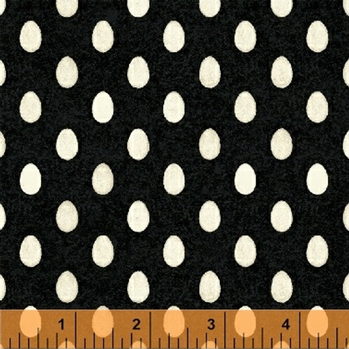 WHITE EGGS ON BLACK FABRIC - 42911-3