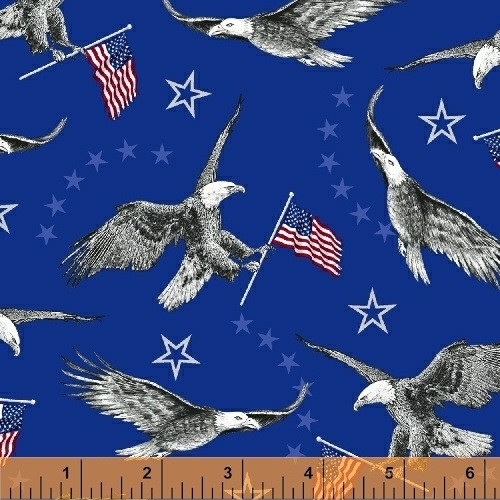EAGLES, FLAGS AND STARS ON BLUE - 42725-1 - Liberty