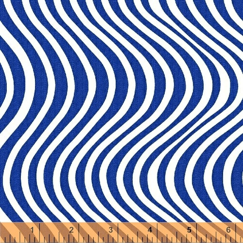 WAVY WHITE STRIPES ON BLUE FABRIC - 42727-1
