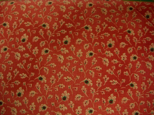 TAN, GREEN AND RED FLORAL ON RED - 8246-008