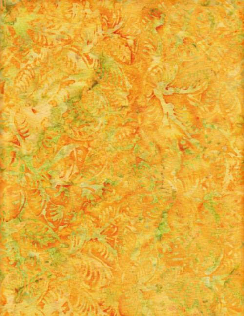 LIME GREEN DESIGN ON ORANGE & YELLOW HAND MADE BATIK FABRIC-BA 5203