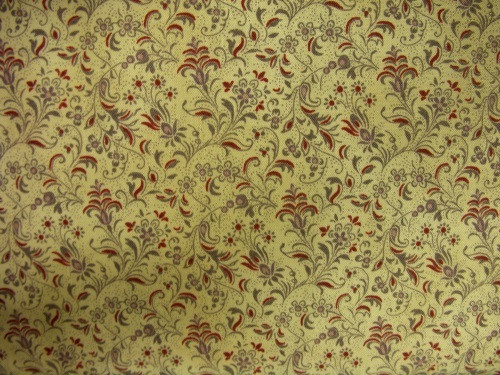 GREEN, RED AND BROWN FLORAL ON BEIGE FABRIC - 8245-008