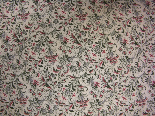 GREEN AND RED FLORAL ON BEIGE FABRIC - 8245-023