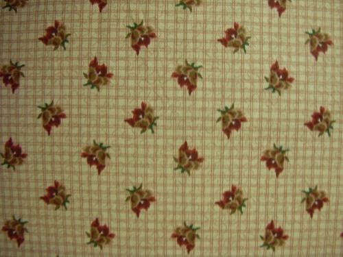 RED, BROWN AND GREEN ON RED CROSSHATCH PLAID FABRIC - 8244-008