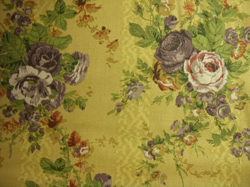 PURPLE, GREEN AND BROWN LARGE FLORAL PRINT ON BROWN FABRIC - 8242-004
