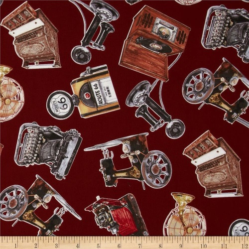 TOSSED VINTAGE GADGETS ON MAROON FABRIC - 4051EQ-60985-10