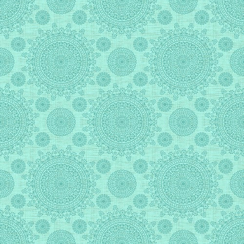 DARK SEA GREEN COLORED MEDALLIONS ON LIGHTER SEA GREEN FABRIC - 1649-24163-Q