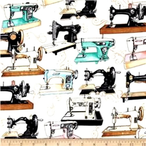 TOSSED MULTICOLORED SEWING MACHINES ON WHITE FABRIC - 1649-24156-E
