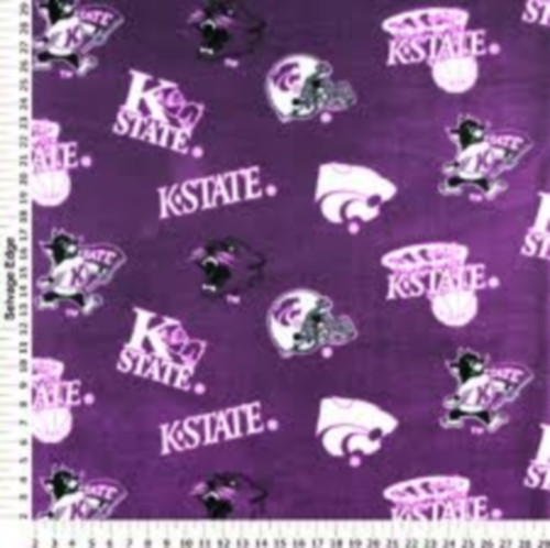 KANSAS STATE UNIVERSITY-HOOPS, HELMETS, WILDCATS & LOGOS ON PURPLE
