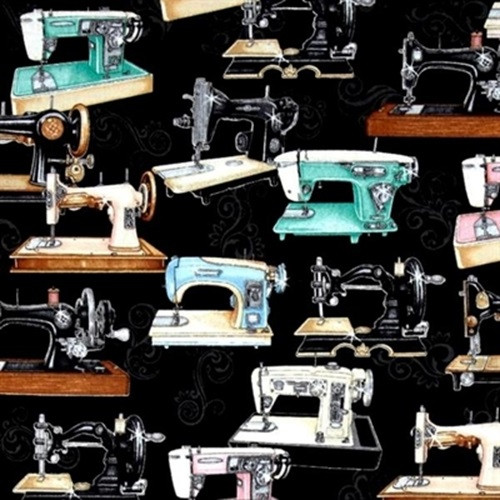 TOSSED MULTICOLORED SEWING MACHINES ON BLACK FABRIC - 1649-24156-J