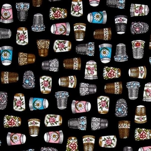 TOSSED MULTICOLORED DECORATIVE THIMBLES ON BLACK FABRIC - 1649-24159-J