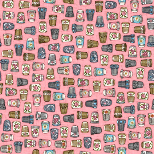 TOSSED MULTICOLORED DECORATIVE THIMBLES ON PINK FABRIC - 1649-24159-P