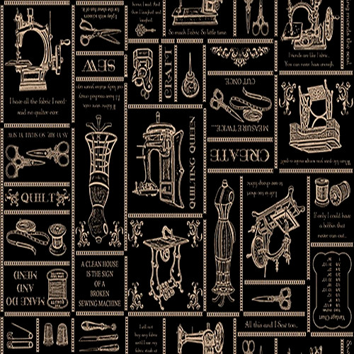 QUILTER'S SAYINGS IN GOLD ON BLACK PRINT FABRIC - 1649-24160-J