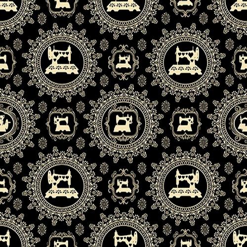 CREAM DAMASK FRAMED VINTAGE SEWING MACHINES ON BLACK FABRIC - 1649-24161-J