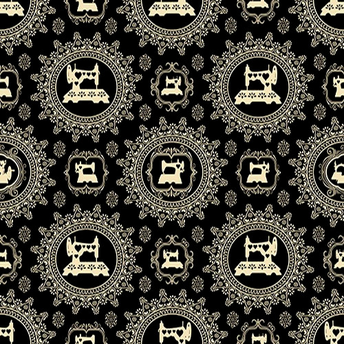 CREAM DAMASK FRAMED VINTAGE SEWING MACHINES ON BLACK FABRIC - 1649-24161-J