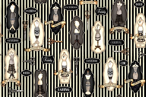 VINTAGE SEWING ASSORTMENT ON BLACK AND TAN STRIPED FABRIC - 1649-24157-J