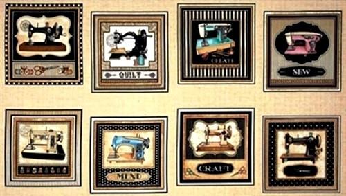 "8 SCENE 23 1/2"" VINTAGE MACHINES ON TAN PANEL - 1649-24154-E"