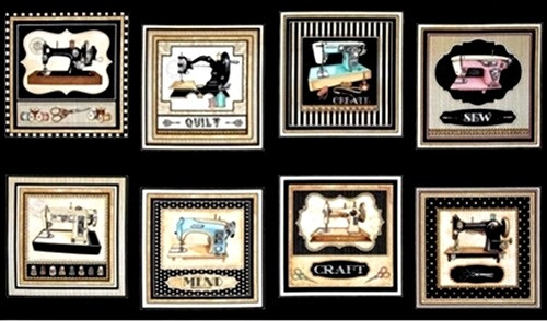 "8 SCENE 23 1/2"" VINTAGE MACHINES ON BLACK PANEL - 1649-24154-J"