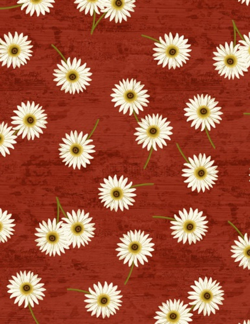 DAISIES ON RED FABRIC - 3007-68435-317