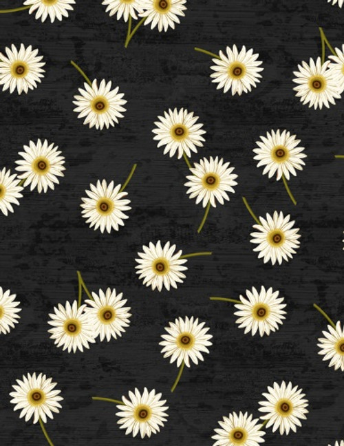 DAISIES ON BLACK FABRIC - 3007-68435-917
