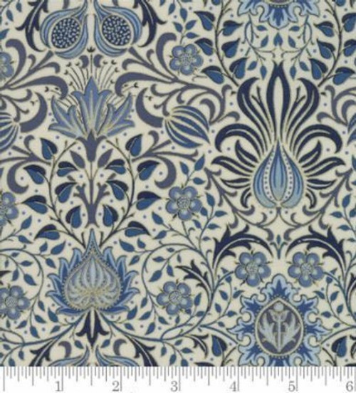 ABSTRACT BLUES AND METALLIC FLORAL PATTERN ON WHITE FABRIC - 7311-12M Linen Indigo
