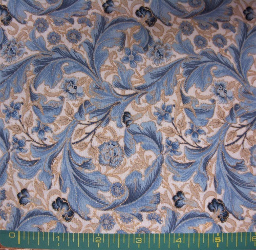 BLUE FEATHERS WITH GOLD METALLIC FLOWERS ON WHITE FABRIC - 7313-12M Linen Indigo