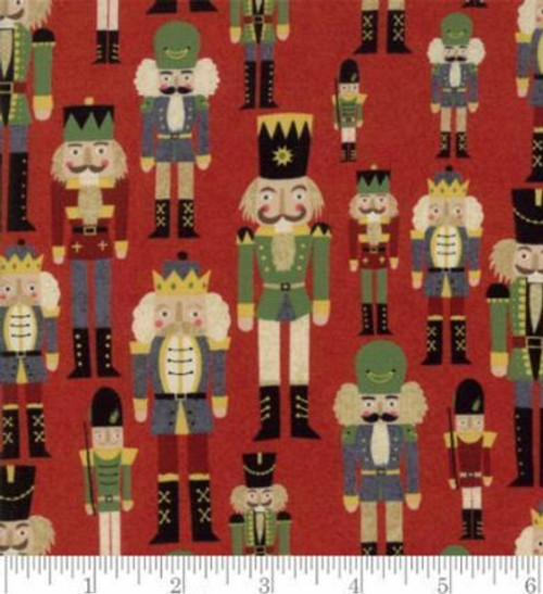 TOY SOLDIERS AND NUTCRACKERS ON RED FABRIC - 30552-13 Cherry
