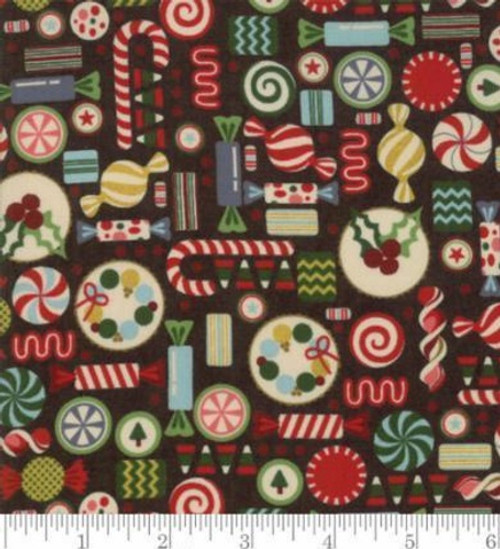 ASSORTED BRIGHTLY COLORED CANDIES ON BROWN FABRIC - 30553-16 Coal