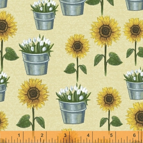 SUNFLOWERS AND TULIPS IN BUCKETS ON SAND FABRIC - 50620-1