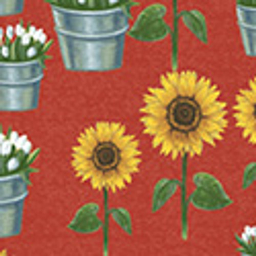 SUNFLOWERS AND TULIPS IN BUCKETS ON RED FABRIC - 50620-2