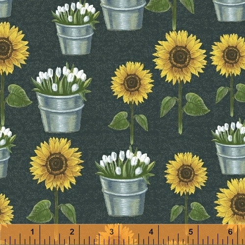 SUNFLOWERS AND TULIPS IN BUCKETS ON DARK CHALKBOARD GREEN FABRIC - 50620-3
