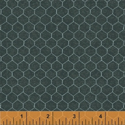 BLUE GREEN CHICKEN WIRE ON DARK CHALKBOARD GREEN FABRIC - 50624-3