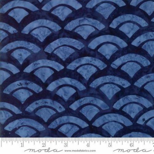 NAVY WITH LIGHT BLUE FAN MARBLE PRINT BATIK FABRIC - 43076-54