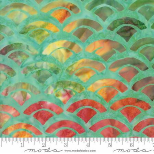 LIGHT GREEN MARBLE WITH MULTI-COLORED MARBLE FAN PRINT BATIK FABRIC - 43076-57