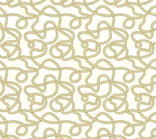 TAN ROPES ON CREAM FABRIC - 4864-11 Cream