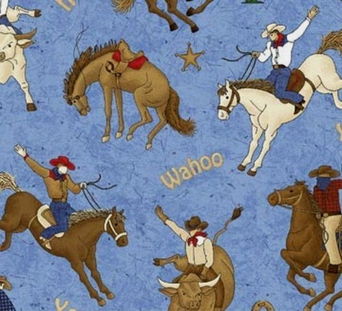 BUCKING HORSES AND BULLS ON BLUE FABRIC - 4857-44 Blue