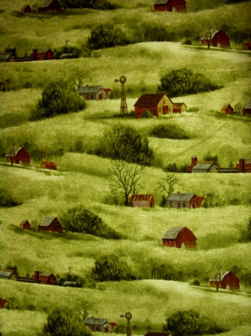 BARNS ON A ROLLING HILLSIDE SCENE - A-8361-G
