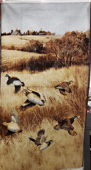 "QUAIL IN A FALL FIELD SCENE 23 1/2"" PANEL - ZD-72273-001 - Quail"
