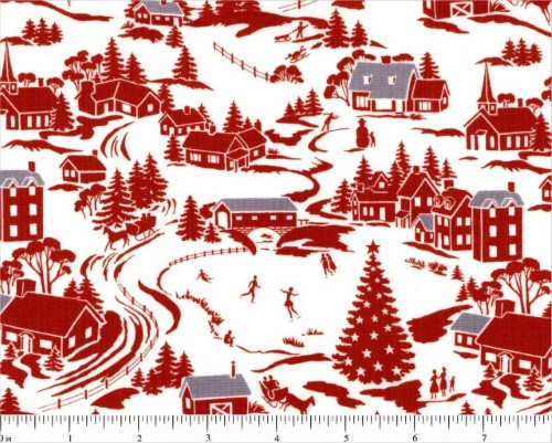 WINTER TOWN SCENE IN RED, WHITE AND GRAY - A-8744-R