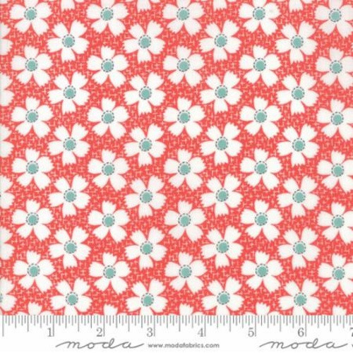 BLUE AND WHITE FLOWERS ON RED AND WHITE FABRIC - 20323-11 - Farmhouse II