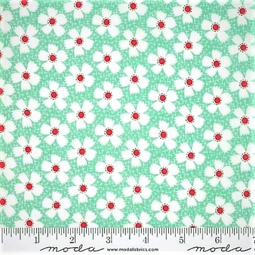 RED AND WHITE FLOWERS ON POND BLUE AND WHITE FABRIC - 20323-14