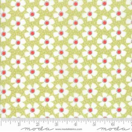 RED AND WHITE FLOWERS ON LIGHT MEADOW GREEN AND WHITE FABRIC - 20323-17 - Farmhouse II