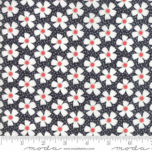 RED AND WHITE FLOWERS ON MIDNIGHT BLACK AND WHITE FABRIC - 20323-18