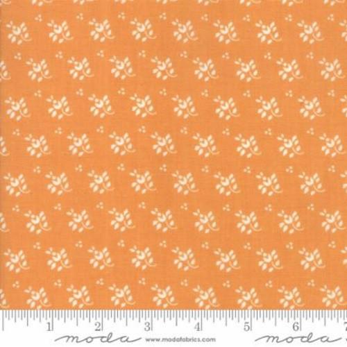 WHITE LEAF AND STEM FLORAL DESIGN ON PUMPKIN ORANGE FABRIC - 20327-12