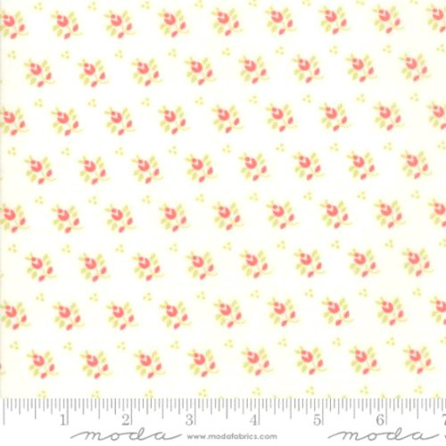 MEADOW GREEN LEAF AND STEM WITH RED FLOWERS DESIGN ON WHITE FABRIC - 20327-15