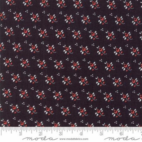 WHITE LEAF AND STEM WITH RED FLOWERS DESIGN ON MIDNIGHT BLACK FABRIC - 20327-18