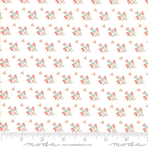 RED LEAF AND STEM WITH LIGHT BLUE FLOWERS DESIGN ON MILK WHITE FABRIC - 20327-25