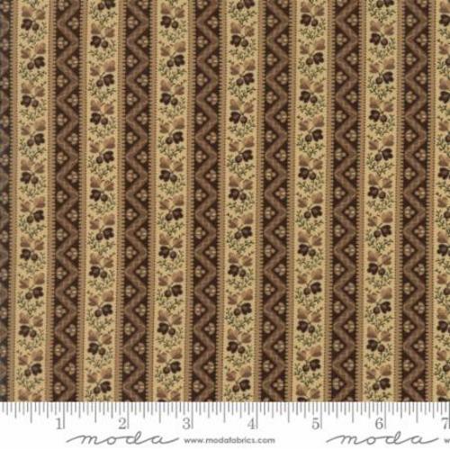 BROWN &TAN ACORN & CHEVRON BORDER STRIPE FABRIC - 42281-11