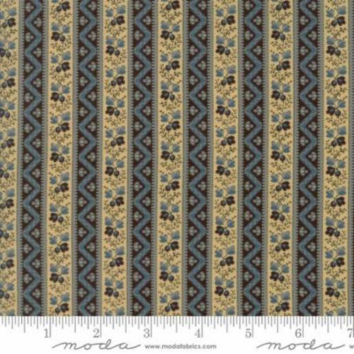 BLUE MOON & TAN ACORN & CHEVRON BORDER STRIPE FABRIC - 42281-12